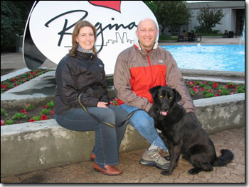 Nicole, Jason and Black Lab-Molly Pylatiuk in front of Regina City Hall