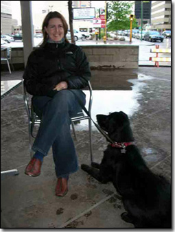 Nicole, and Black Lab-Molly Pylatiuk at Atlantis coffee shop
