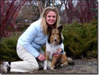 Jill Morgan with Sheltie-Jasper in wascana park